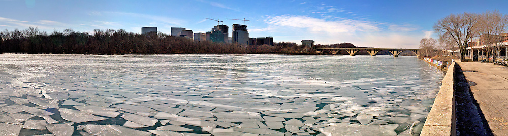 The Potomac River, Washington DC, frozen looking towards Rosslyn, Arlington, Virginia.