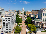 Aerial photograph of Madison, Wisconsin, USA. State Capitol.