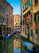 Buildings along a small canal in Venice