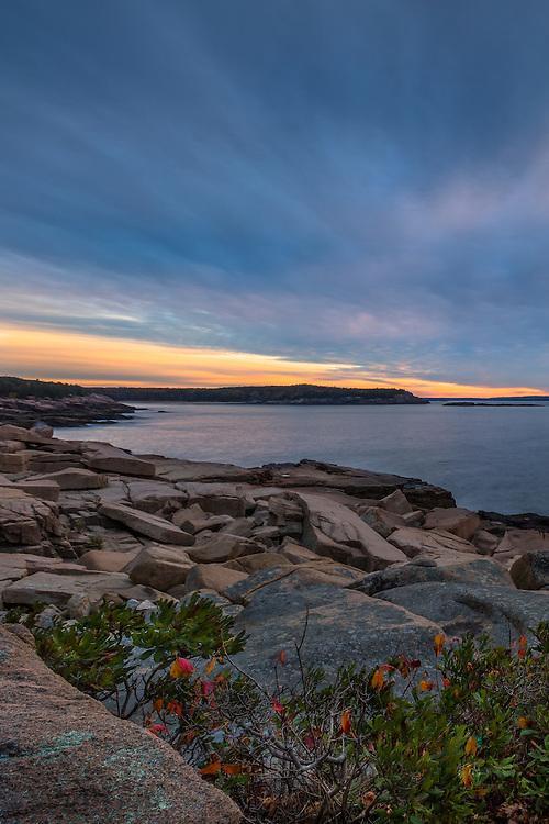 A surreal sunrise greets the day at one of the many granite cliffsides in Acadia.