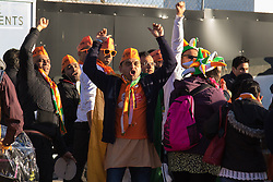 As a small group of Sikh  protesters demonstrate outside Wembley Stadium, thousands of the UK's Indian community stream into the stadium ahead of an address to more than 60,000 by Indian Prime Minister Narendra Modi at a 'UK Welcomes Modi' reception. With more than 9 billion worth of trade deals signed during his visit, the euphoria is tempered by the fact that just a few years ago he was a persona non grata in the UK. Modi, a Hindu and his BJP party are accused of a wide range of human rights abuses against religious and ethnic minorities in India.  ©2015 Paul Davey. All rights reserved.   // Licensing: Please contact Paul Davey paul@pauldaveycreative.co.uk Tel +44 (0) 7966 016 296 or +44 (0) 208 969 6875.