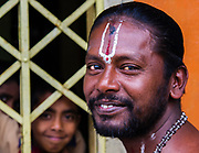 A Hindu priest at his temple in the interior hill country. Hindus make up around 12 percent of the Sri Lankan population.