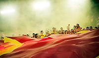 27.05.2014 Bialystok Mecz 36. kolejki T-Mobile Ekstraklasy pomiedzy Jagiellonia Bialystok ( zolto-czerwone ) a Korona Kielce ( czarne ) zakonczony remisem 4 : 4 ( 3 : 0 ) N/z kibice Jagiellonii fot Michal Kosc / AGENCJA WSCHOD