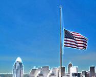 Flag, flies half mast on 9-11-12