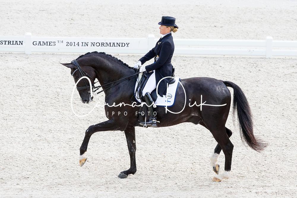 Mikaela Lindh, (FIN), Skovlunds Mas Guapo - Grand Prix Team Competition Dressage - Alltech FEI World Equestrian Games™ 2014 - Normandy, France.<br /> © Hippo Foto Team - Leanjo de Koster<br /> 25/06/14