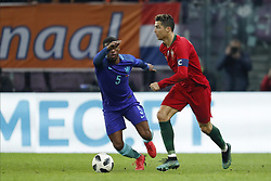 (L-R) Georginio Wijnaldum of Holland, Cristiano Ronaldo of Portugal during the International friendly match match between Portugal and The Netherlands at Stade de Genève on March 26, 2018 in Geneva, Switzerland