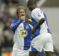Photo: Aidan Ellis.<br /> Blackburn Rovers v Manchester City. The FA Cup. 11/03/2007.<br /> Rovers Tugay congratulates Aaron Mokoena after he scroed the first goal
