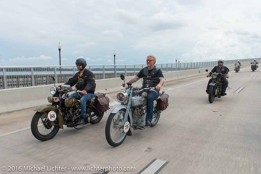 """Thomas Trapp, the Harley-Davidson dealer from Frankfurt, Germany riding his 1916 Harley-Davidson F beside his riding partners Andreas """"Andy"""" Kaindl, also of Germany, riding his 1924 Henderson Deluxe and Marcin Grela of Poland riding his 1936 Harley Davidson VLH during Stage 1 of the Motorcycle Cannonball Cross-Country Endurance Run, which on this day ran from Daytona Beach to Lake City, FL., USA. Friday, September 5, 2014.  Photography ©2014 Michael Lichter."""