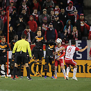 Goalkeeper Joe Willis, Houston Dynamo, is beaten by a free kick from Felipe Martins, (center), New York Red Bulls, for the second of his two spectacular goals in New York Red Bulls 4-3 win during the New York Red Bulls Vs Houston Dynamo, Major League Soccer regular season match at Red Bull Arena, Harrison, New Jersey. USA. 19th March 2016. Photo Tim Clayton