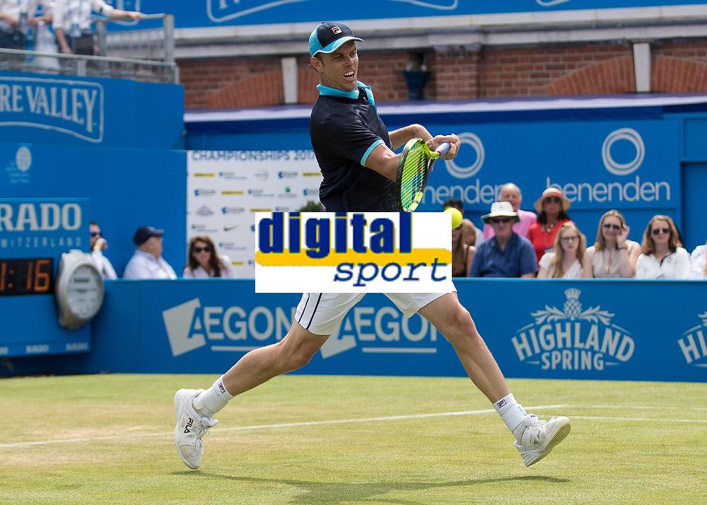 Tennis - 2017 Aegon Championships [Queen's Club Championship] - Day Four, Thursday <br /> <br /> Men's Singles: Round of 16 - Jordan THOMPSON (AUS) vs Sam QUERREY (USA)<br /> <br /> Sam Querrey (USA) at Queens Club<br /> <br /> COLORSPORT/DANIEL BEARHAM