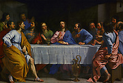 The Last Supper', 1654. Oil on canvas. Philippe de Champaigne (1602–1674) Flemish-born French Baroque era painter.  Jesus, surrounded by his disciples, blessing wine and bread. Religion Christian Symbolism Transubstantiation