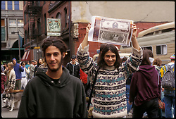 The Grateful Dead crowd outside the Boston Garden 03 August 1994 and a Deadhead holding up Dead Dollars !