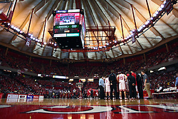 "31 January 2009: Redbird Arena during a time out. The Illinois State University Redbirds join the Bradley Braves in a tie for 2nd place in ""The Valley"" with a 69-65 win on Doug Collins Court inside Redbird Arena on the campus of Illinois State University in Normal Illinois"