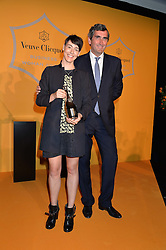 SARAH WOOD winner of the 2016 Veuve Clicquot Business Women Award and JEAN-MARC GALLOT president of Veuve Clicquot at the Veuve Clicquot Business Woman Award 2016 held at Claridge's Hotel, Brook Street, London on 9th May 2016.