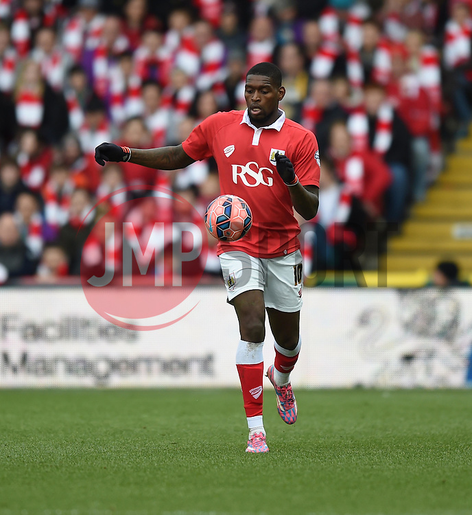 Bristol City's Jay Emmanuel-Thomas in action during the FA Cup fourth round match between Bristol City and West Ham United at Ashton Gate on 25 January 2015 in Bristol, England - Photo mandatory by-line: Paul Knight/JMP - Mobile: 07966 386802 - 25/01/2015 - SPORT - Football - Bristol - Ashton Gate - Bristol City v West Ham United - FA Cup fourth round