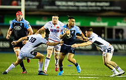 Willis Halaholo of Cardiff Blues under pressure from Jaco van der Walt of Edinburgh Rugby<br /> <br /> Photographer Simon King/Replay Images<br /> <br /> Guinness PRO14 Round 2 - Cardiff Blues v Edinburgh - Saturday 5th October 2019 -Cardiff Arms Park - Cardiff<br /> <br /> World Copyright © Replay Images . All rights reserved. info@replayimages.co.uk - http://replayimages.co.uk