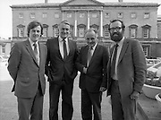 1983-11-83.11th Octoer 1983.11-10-1983.10-11-83..Photographed at Seanad Éireann..Senatorial style:..Four members of Seanad Éireann enjoy the rare rays of an October sun outside the Upper House of the Oireachtas in Dublin..
