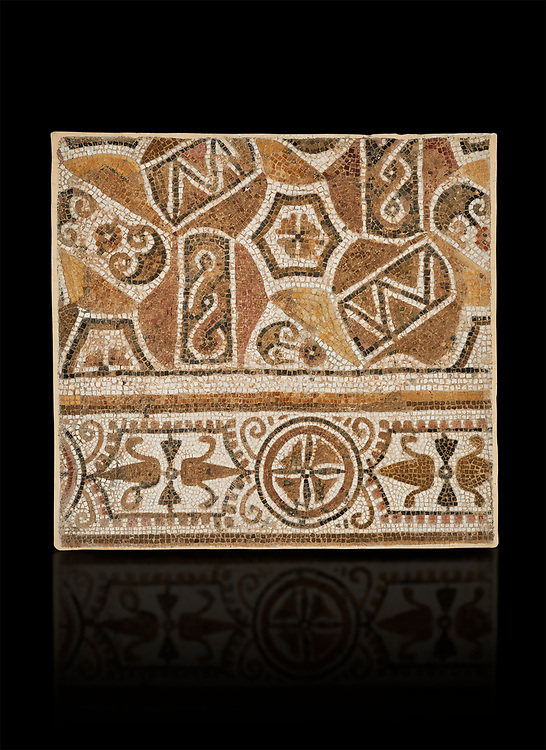 Pictures of a geometric Roman mosaic, from the ancient Roman city of Thysdrus. 3rd century AD. El Djem Archaeological Museum, El Djem, Tunisia. Against a black background .<br /> <br /> If you prefer to buy from our ALAMY PHOTO LIBRARY Collection visit : https://www.alamy.com/portfolio/paul-williams-funkystock/roman-mosaic.html . Type - El Djem - into the LOWER SEARCH WITHIN GALLERY box. Refine search by adding background colour, place, museum etc<br /> <br /> Visit our ROMAN MOSAIC PHOTO COLLECTIONS for more photos to download as wall art prints https://funkystock.photoshelter.com/gallery-collection/Roman-Mosaics-Art-Pictures-Images/C0000LcfNel7FpLI