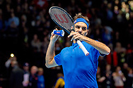 Roger Federer of Switzerland throws his wristband into the crowd after winning his match during the Nitto ATP World Tour Finals at the O2 Arena, London, United Kingdom on 13 November 2018.Photo by Martin Cole