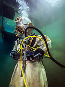 US Navy Mark-V commercial diver helmet helmet commercial diver at Dutch Springs, Scuba Diving Resort in Bethlehem, Pennsylvania