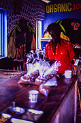 Organic coffee for sale in small shop Spalding, Clarendon parish, Jamaica, West Indies, 1990