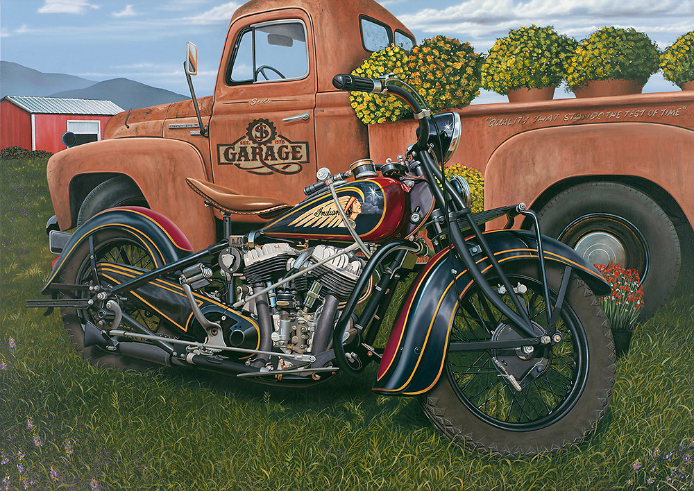 """""""Indian Summer""""'<br /> Painting by Scott Jacobs 2018.<br /> <br /> Even though Scotts been painting Harley's for 30-years, he still finds time to give homage to other iconic brands like Indian. """"Indian Summer"""" was his official 78th Sturgis Piece."""