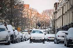 © Licensed to London News Pictures. 28/02/2018. London, UK. Hazardous driving conditions in Little Venice, West London following heavy snowfall last night. Large parts of the UK are experiencing disruption as 'Storm Emma' hits, following Russian a cold front earlier in the week named 'The Beast From The East'. Photo credit: Ben Cawthra/LNP