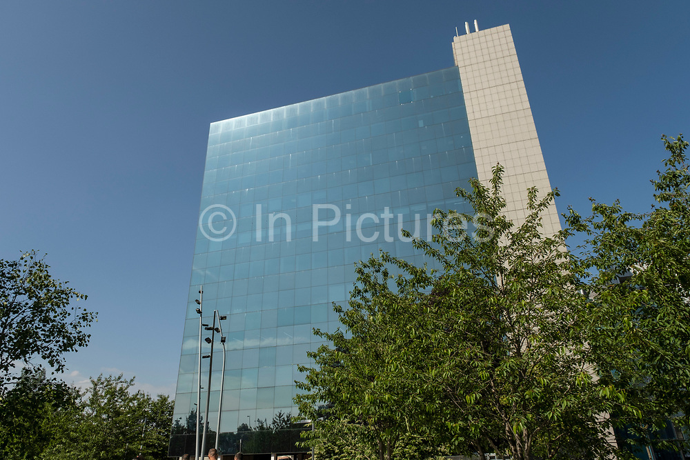 Friars House, one of the citys architectural giants in the UK City of Culture 2021 on 23rd June 2021 in Coventry, United Kingdom. Friars House is an eleven storey modern glass building that has been refurbished to provide office space in Coventry city centre situated in redeveloped gardens. The UK City of Culture is a designation given to a city in the United Kingdom for a period of one year. The aim of the initiative, which is administered by the Department for Digital, Culture, Media and Sport. Coventry is a city which is under a large scale and current regeneration.