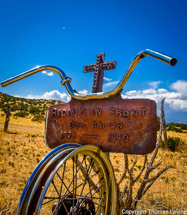 Bicycle Grave Marker at the Madrid Cemetery, New Mexico.