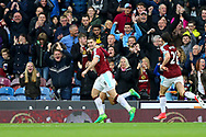 Sam Vokes of Burnley (c) celebrates with his teammates after scoring his teams 1st goal. Premier League match, Burnley v West Bromwich Albion at Turf Moor in Burnley , Lancs on Saturday 6th May 2017.<br /> pic by Chris Stading, Andrew Orchard sports photography.