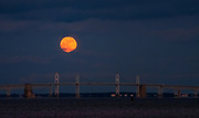 New Year's Day Supermoon Over the Chesapeake Bay Bridge