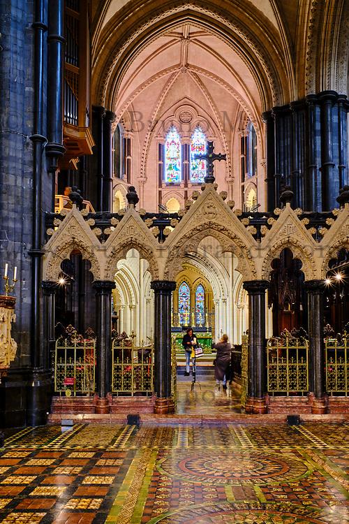 Irlande, Dublin, St Michaels Hill, interieur de la cathédrale Christ Church ou cathédrale de la Sainte-Trinité, cathédrale anglicane irlandaise // Republic of Ireland; Dublin, interior of Christ Church Cathedral