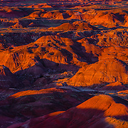 USA, West, Southwest, AZ, Arizone, Petrified Forest, Painted Desert, <br /> The fiery red Painted Desert from Lacey Point in Petrified Forest National Park, AZ.