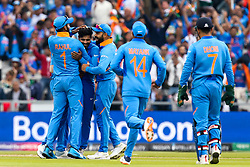 Ravindra Jadeja of India celebrates taking the wicket of Henry Nicholls of New Zealand - Mandatory by-line: Robbie Stephenson/JMP - 09/07/2019 - CRICKET - Old Trafford - Manchester, England - India v New Zealand - ICC Cricket World Cup 2019 - Semi Final