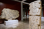 Totonacs stone sculptures from the El Zapotal archeological  site on display at the Museum of Anthropology in the historic center of Xalapa, Veracruz, Mexico. The Totonac civilization were an indigenous Mesoamerican civilization dating roughly from 300 CE to about 1200 CE.