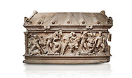 Roman relief sculpted Herakles (Hercules)  sarcophagus, 2nd century AD, Perge, inv 1,11,81-1.3.99-2.3.99.. Antalya Archaeology Museum, Turkey. Against a white background..<br /> <br /> If you prefer to buy from our ALAMY STOCK LIBRARY page at https://www.alamy.com/portfolio/paul-williams-funkystock/greco-roman-sculptures.html . Type -    Antalya    - into LOWER SEARCH WITHIN GALLERY box - Refine search by adding a subject, place, background colour, etc.<br /> <br /> Visit our ROMAN WORLD PHOTO COLLECTIONS for more photos to download or buy as wall art prints https://funkystock.photoshelter.com/gallery-collection/The-Romans-Art-Artefacts-Antiquities-Historic-Sites-Pictures-Images/C0000r2uLJJo9_s0