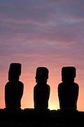 Moai at dawn, Tongariki Beach Easter Island, Chile