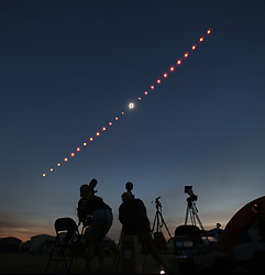 Aug 21, 2017 - Madras, Oregon, U.S. - Time-lapse photo of the total solar eclipse from Madras. (Credit Image: © Chris Pietsch/Register Guard via ZUMA Wire)