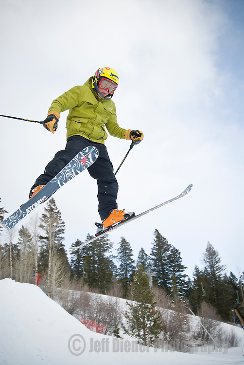 A boy skis at the Jackson Hole Mountain Resort in Jackson Hole, Wyoming.