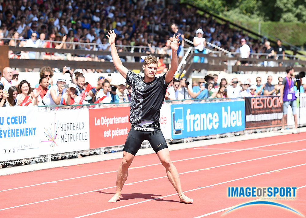 Kevin Mayer (FRA) gestures during the decathlon at the DecaStar meeting, Saturday, June 23, 2019, in Talence, France. (Jiro Mochizuki/Image of Sport)