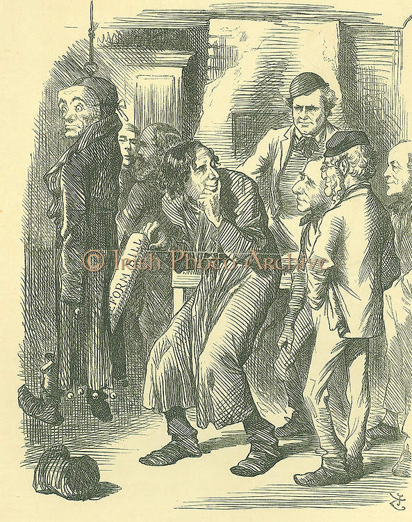 Fagin's Political School': Reform of Parliament - extension of the franchise. Disraeli carried the Reform Bill through the Commons in 1867, claiming credit for acceptance of the legislation. Here he is shown picking it from the pocket of Lord John Russell. John Tenniel cartoon from 'Punch', London, 9 November 1867.