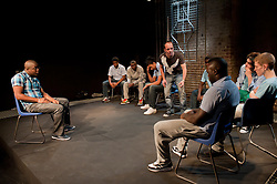 "© Copyright licensed to London News Pictures. 12/11/2010. ""Inside"" by Philip Osment, presented by Playing Out at the Roundhouse, Camden, London. Based on the real experiences of young fathers in prison, the play deals with big questions surrounding relationships, both with their own fathers and with their children. The cast: Jim Pope, Andre Skeete, Ayo Bodunrin, Kyle Thorne, Michael Amaning, Darren Douglas, Segun Olaiya, Jacob James Beswick, Tarkan Cetinkaya."