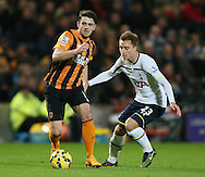 Robbie Brady of Hull City and Christian Eriksen of Tottenham - Barclays Premier League - Hull City vs Tottenham - Kingston Communications  Stadium - Hull - England - 23rd November 2014  - Picture Simon Bellis/Sportimage