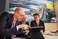Nederland, Amsterdam, 3 juni 2015 <br /> Provada vastgoedbeurs in de Rai. <br /> Stand Logistic Valley, Nijmegen.<br /> <br /> Foto: Michiel Wijnbergh