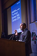Purchase, NY – 31 October 2014. New York State Supreme Court Justic Bruce Tolver introducing the competing teams. The Business Skills Olympics was founded by the African American Men of Westchester, is sponsored and facilitated by Morgan Stanley, and is open to high school teams in Westchester County.