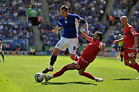 Photo: Tony Oudot/Richard Lane Photography. Leicester City v Barnsley. Coca Cola Championship. 22/08/2009. <br /> Matt Oakley of Leicester is challenged by Martin Devaney of Barnsley