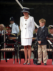 The Prince and Princess of Wales with sons Prince William (right) and Prince Harry, attending the VJ Day commemorations at Buckingham Palace.