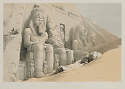The Great Temple of Aboo-Simble (Abu Simbel), From Nubia Egypt and Nubia, Volume I: The Great Temple of Aboo-Simble, Nubia, 1846. Louis Haghe (British, 1806-1885), F.G. Moon, 20 Threadneedle Street, London, after David Roberts (British, 1796-1864). Color lithograph;