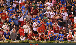 September 29, 2017 - St Louis, MO, USA - Fans in the outfield reach for solo home run ball hit by the St. Louis Cardinals' Paul DeJong in the fourth inning against the Milwaukee Brewers on Friday, Sept. 29, 2017, at Busch Stadium in St. Louis. The Brewers won, 5-3. (Credit Image: © Chris Lee/TNS via ZUMA Wire)