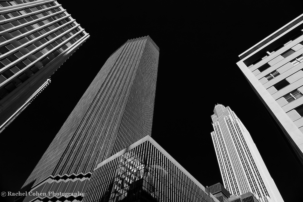 """""""Minneapolis After Dark"""" mono<br /> <br /> IDS Tower and other buildings in downtown Minneapolis.<br /> <br /> Cities and Skyscrapers by Rachel Cohen"""